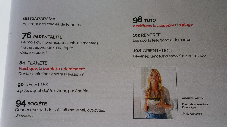 revue feminin bio sommaire 2