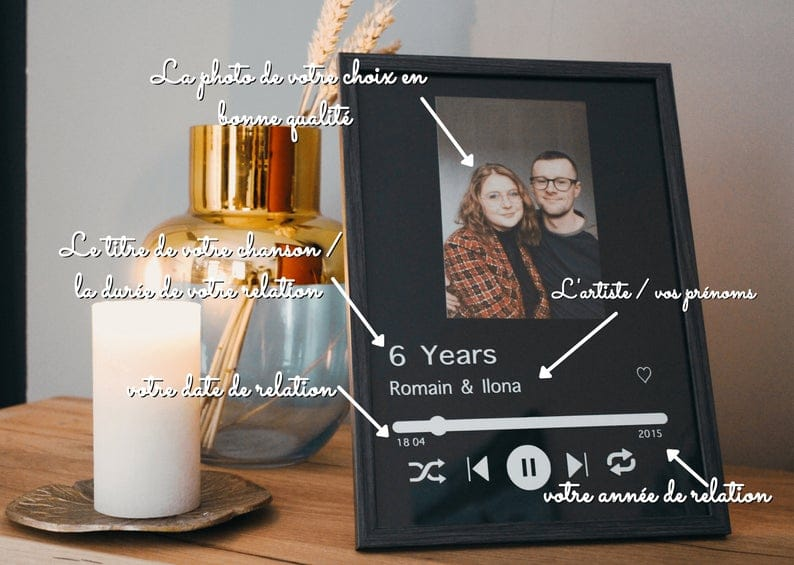 Cadre personnalisé couple St Valentin musique