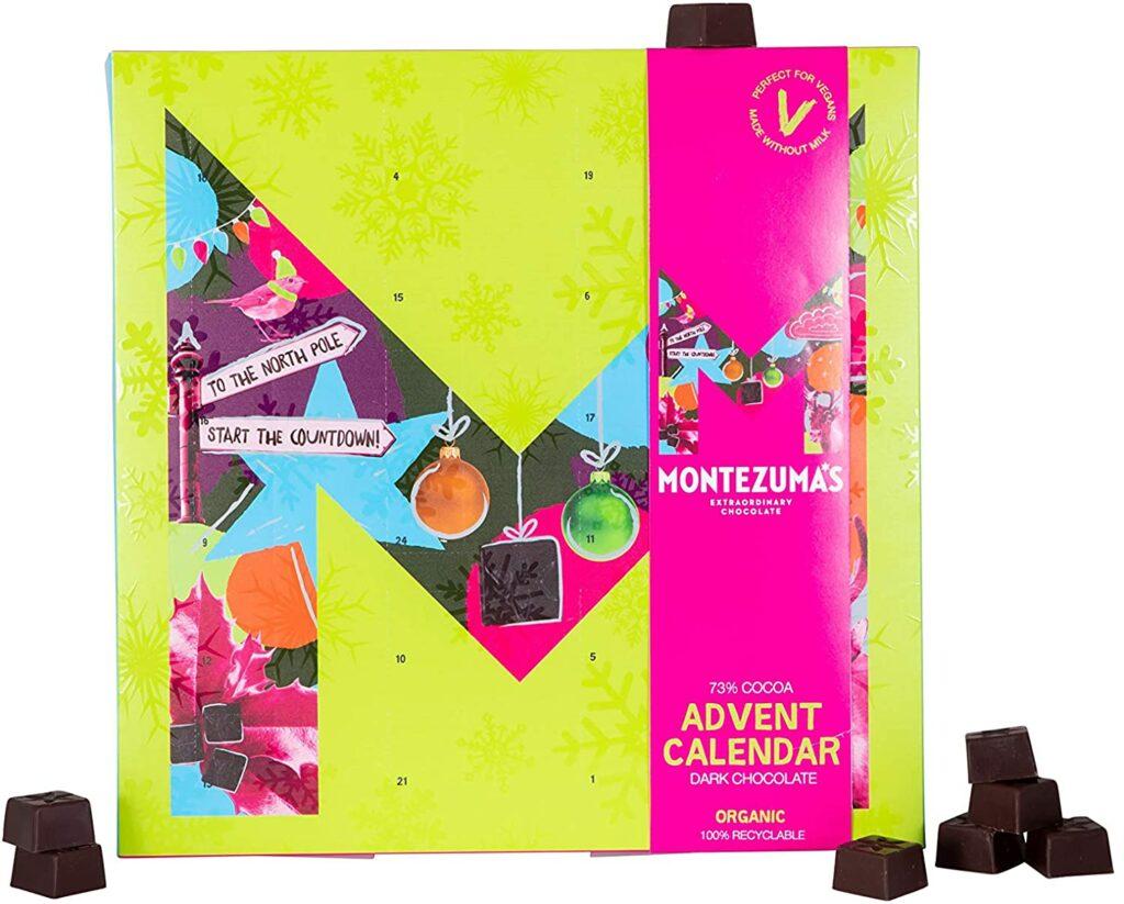 Calendrier de l'Avent en chocolat noir bio de chez Montezuma's
