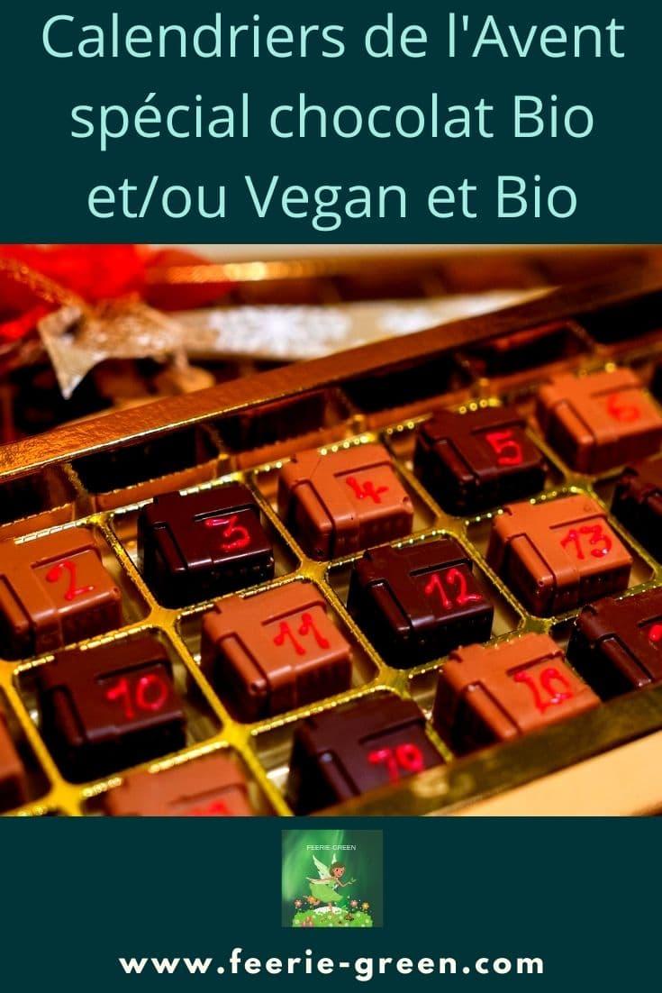 Calendriers de l'Avent spécial chocolat Bio etou Vegan et Bio - pinterest
